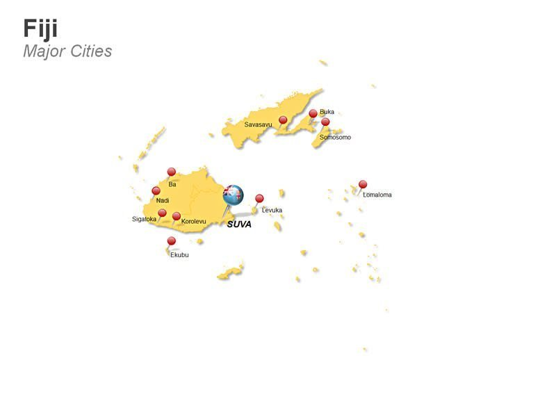 PowerPoint Template Map Fiji -Cities