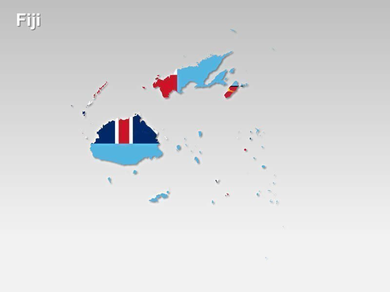 Fiji Flag - in a PPT Map