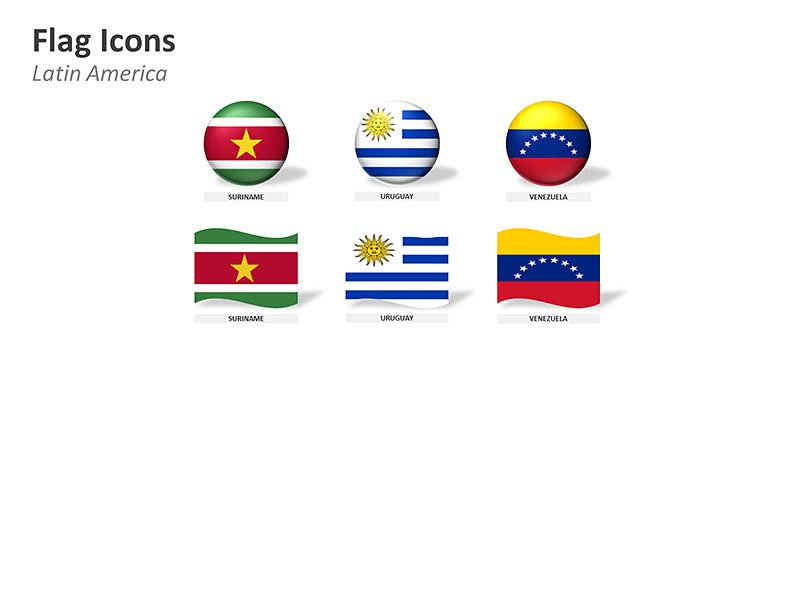 Latin America Country Flag Icons PPT Vector Images