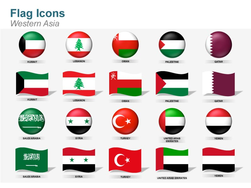 Western Asia Countries Flag Cliparts