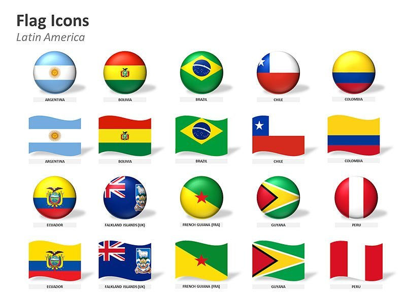 Country Flag Icons of Latin America PowerPoint Illustration