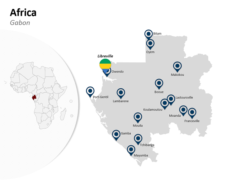 Gabon - Editable PPT Africa Map