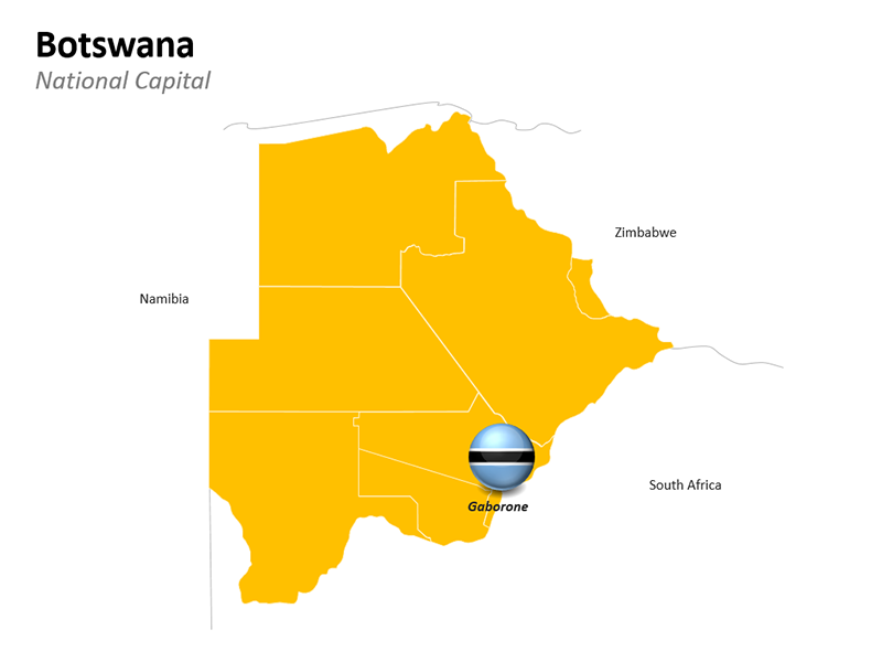 Botswana Map with Capital Gaborone - Editable PowerPoint Slide