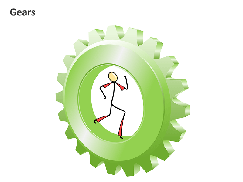 3D Gears Diagram PPT Vector - Graphics Slide