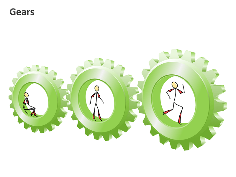 Gears Cycle Diagram PowerPoint Vector Graphics