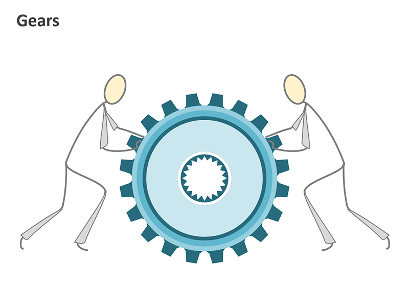 Gears and Teamwork Graphics - PowerPoint Slide