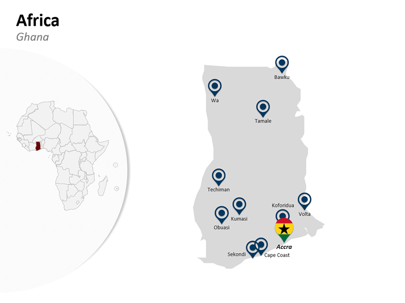 Editable PowerPoint Africa - Ghana Map