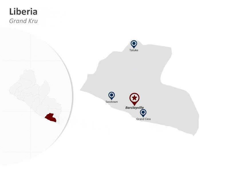 PPT Map of Liberia PowerPoint - Grand Kru