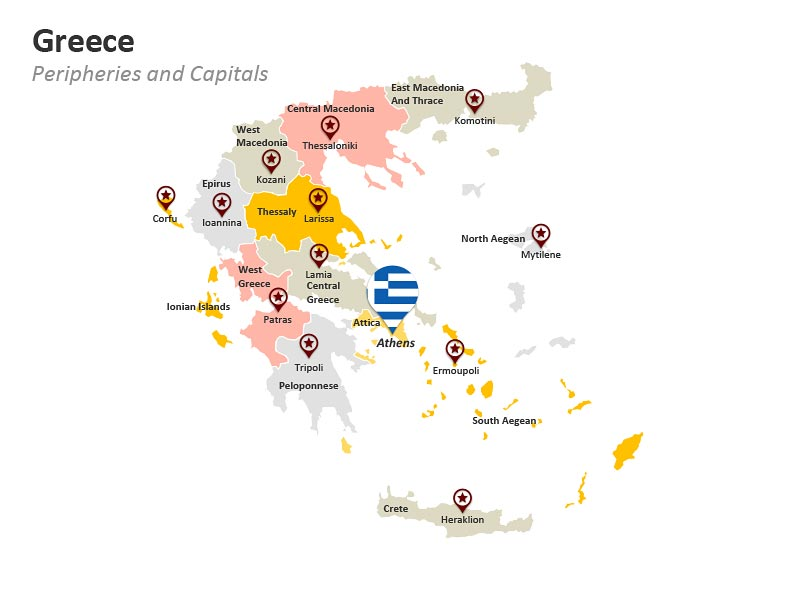 Editable Political Map of Greece