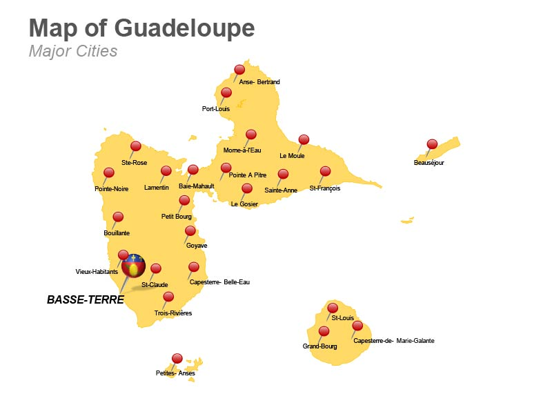 Guadeloupe Major Cities PowerPoint Map