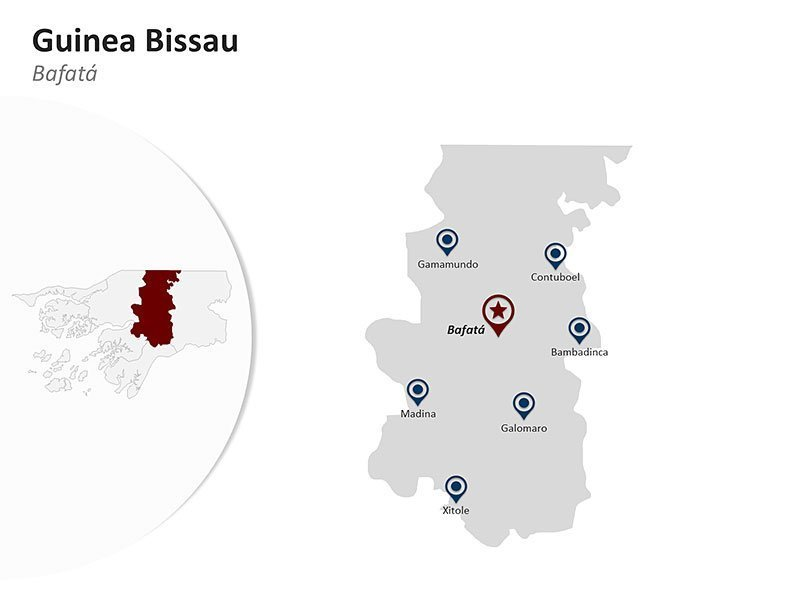 Guinea Bissau with Bafatá Region Map of PPT Slide