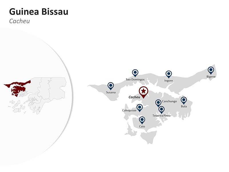 Guinea Bissau with Cacheu Region Map - Customizable PPT Slide