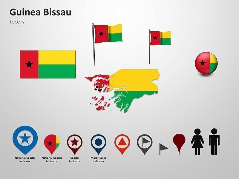 Guinea Bissau Map Icons PPT