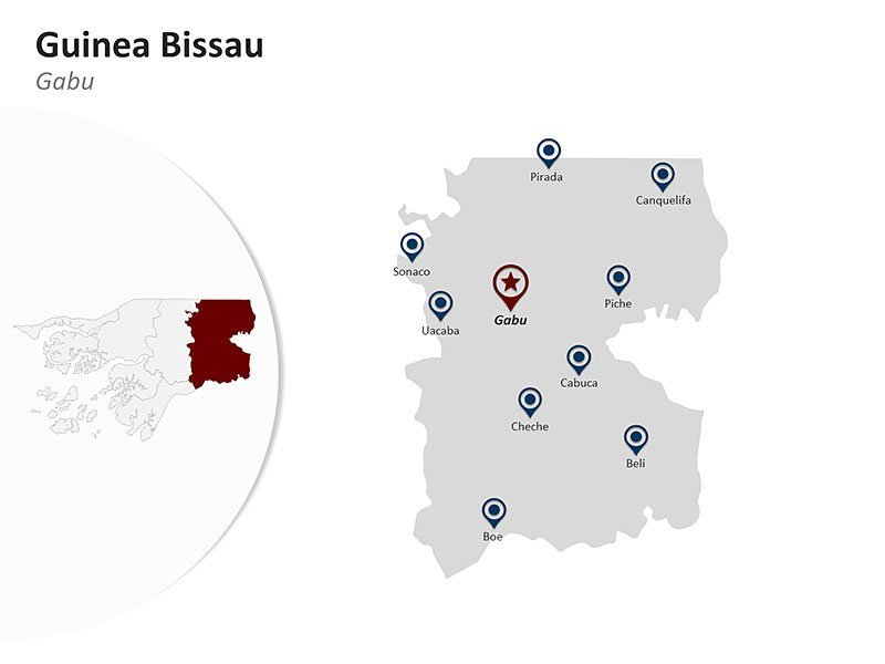 Guinea Bissau with Gabu Region Map - Editable PPT Slides
