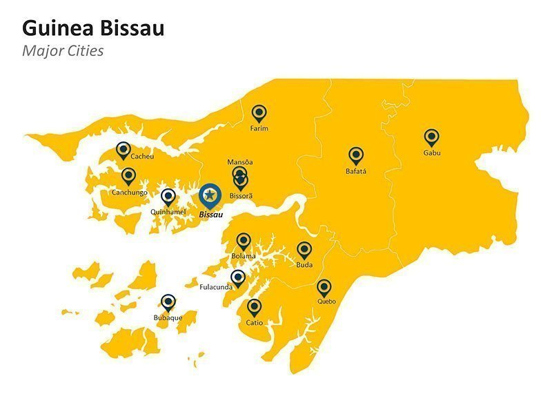 Guinea Bissau Major Cities Map PowerPoint Slide