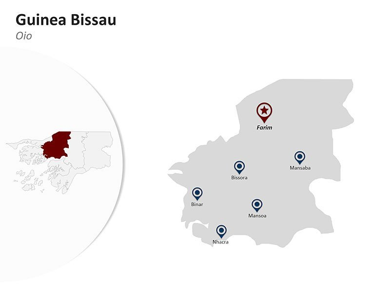 Guinea Bissau with Oio Region Map of PowerPoint Presentation