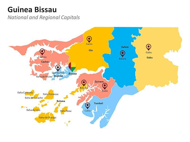 Guinea Bissau Regional Map of PowerPoint Slides