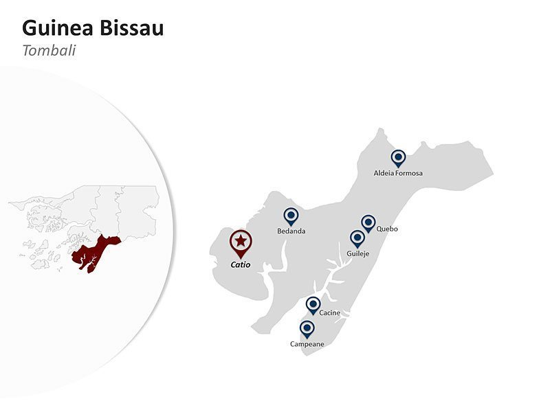 Guinea Bissau with Tombali Region Map of PPT Slide