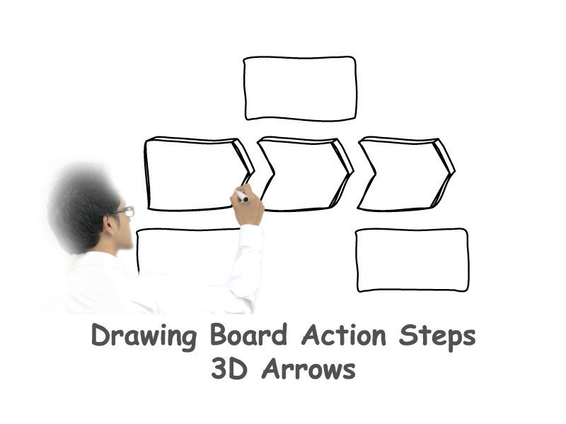 Process Flow Template - 3D Arrows on White Board