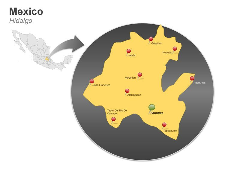 Map of Mexico PowerPoint Slides - Hidalgo