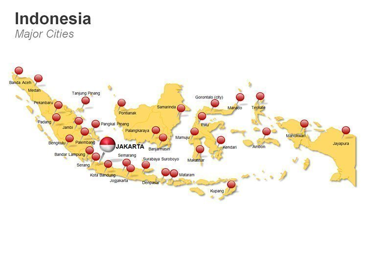 Indonesia Major Cities PowerPoint Map