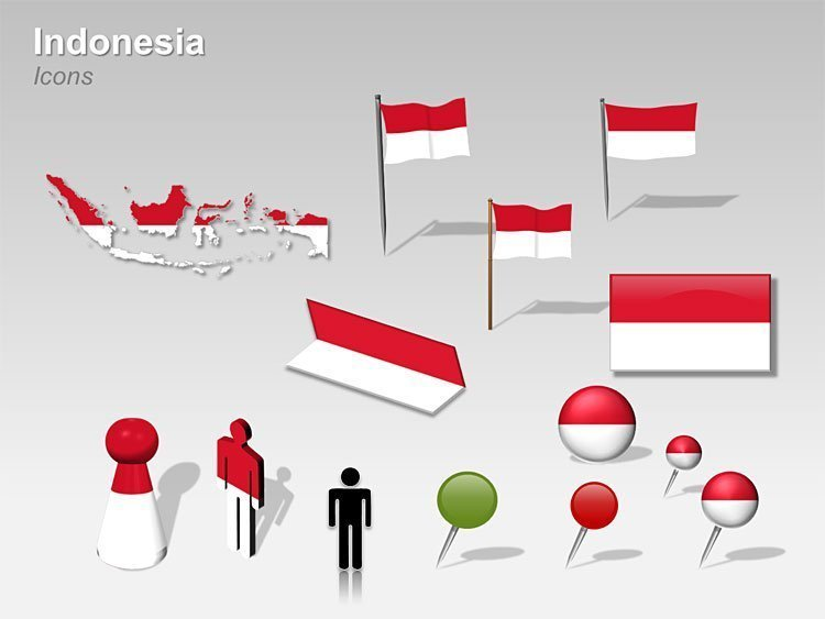 Map and Flag Icons of Indonesia PPT Cliparts