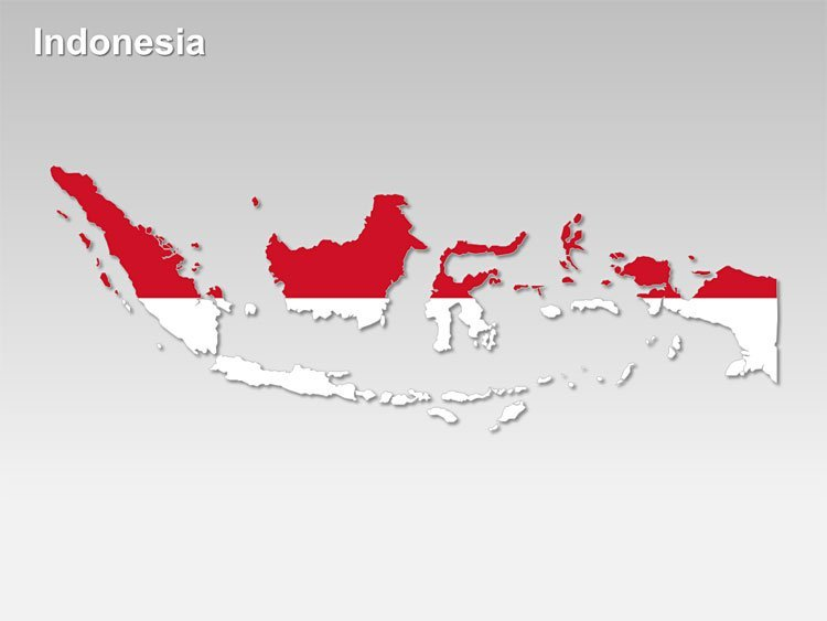 Flag Themed Indonesia Map - Editable PPT