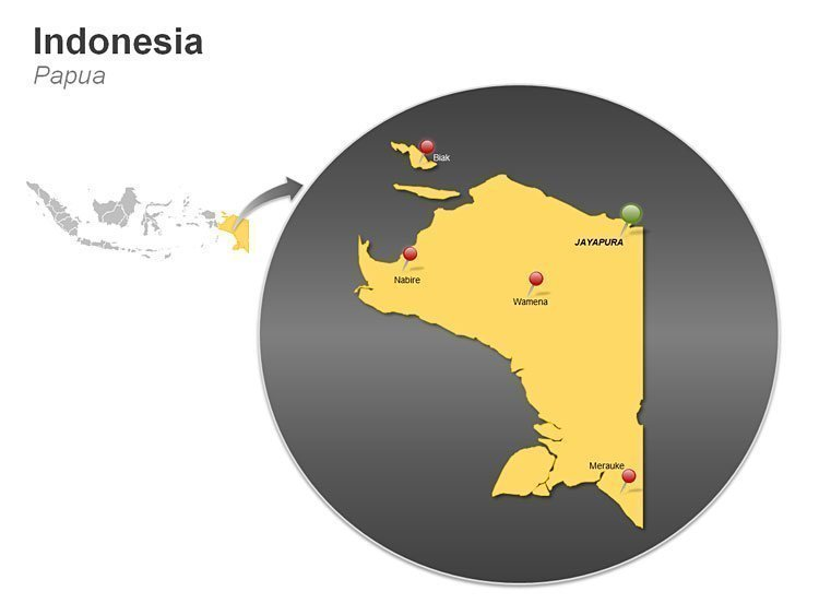 Papua PowerPoint Map of Indonesia