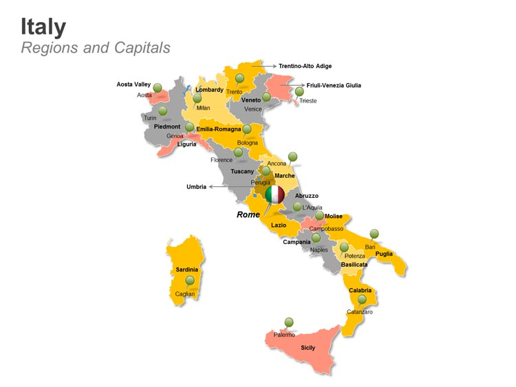 Italy Regions and Capitals PPT Map