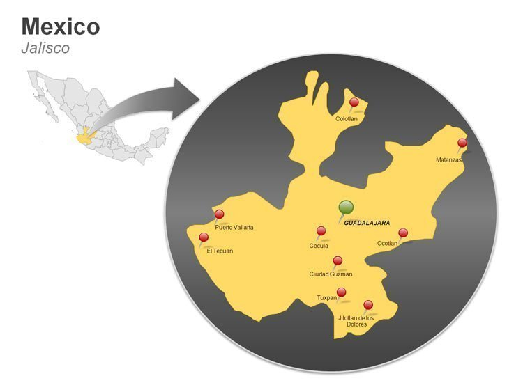 Map of Mexico PowerPoint Slides - Jalisco