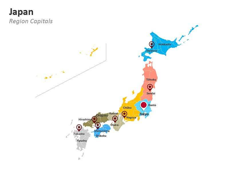 Regional Map of Japan - Editable PPT Slide