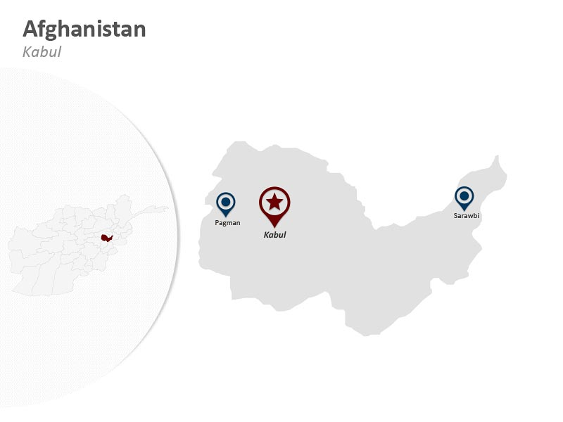 Afghanistan PPT Map - Kabul