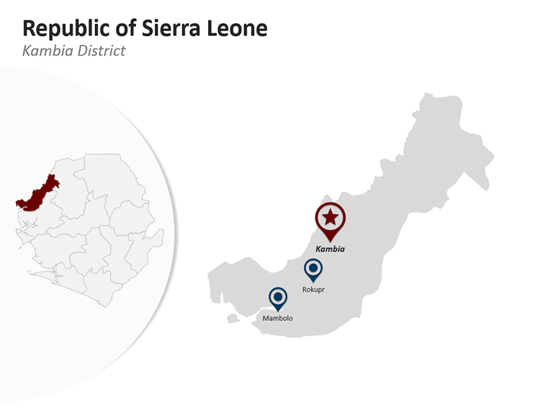 Republic of Sierra Leone - Kambia District - Editable PPT Map