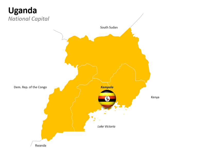Uganda with National Capital Kampala Map - Editable PowerPoint Slide