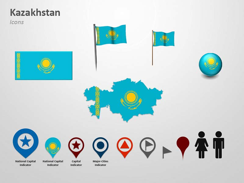 Kazakhstan Icons Flag Map