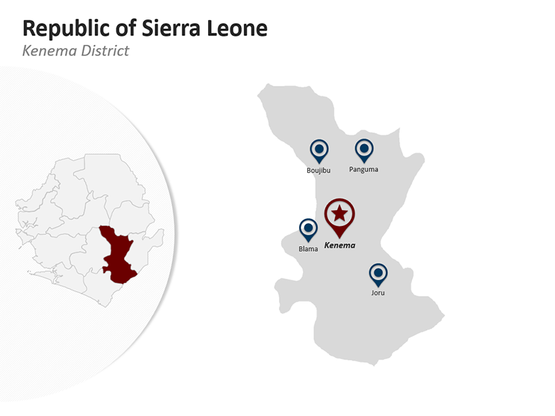 Kenema District - Republic of Sierra Leone - Editable PPT Map
