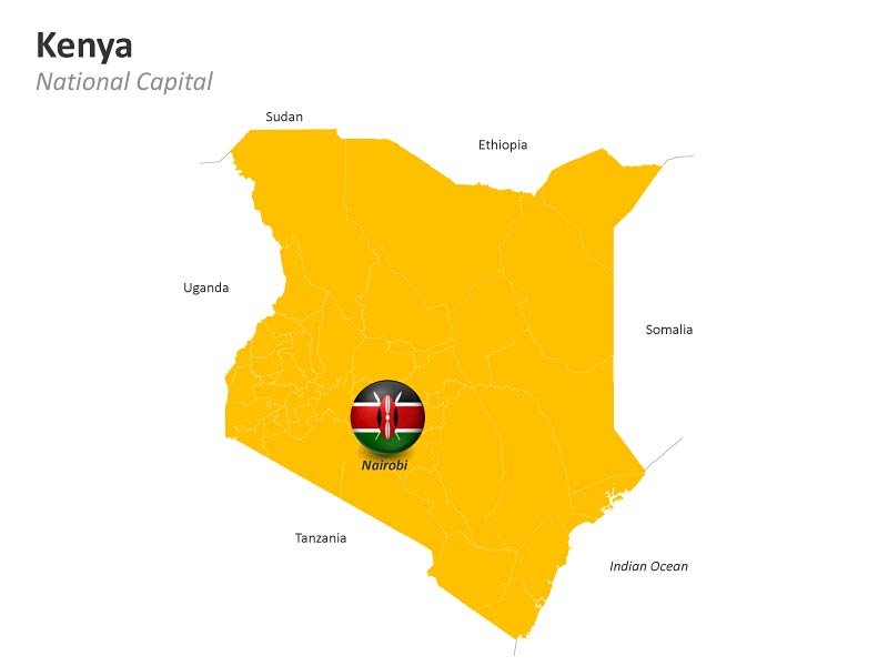 Kenya Map with Nairobi Capital City - PowerPoint Slides