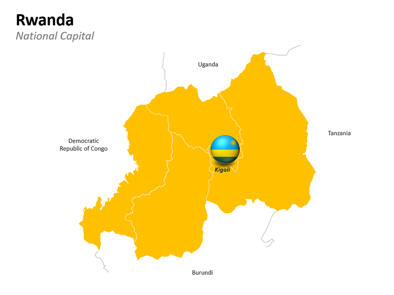 Rwanda with National Capital Kigali - Editable PowerPoint Slide
