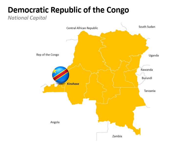 Democratic Republic of the Congo National Capital Map - Editable PowerPoint Slide