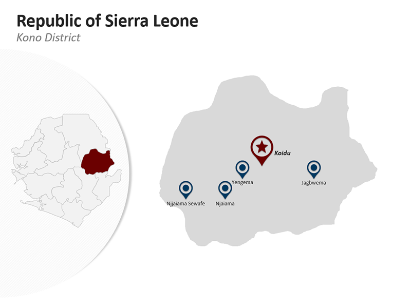 Republic of Sierra Leone - Kono District - Editable PPT Map
