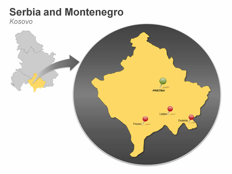 Map of Serbia and Montenegro - Kosovo