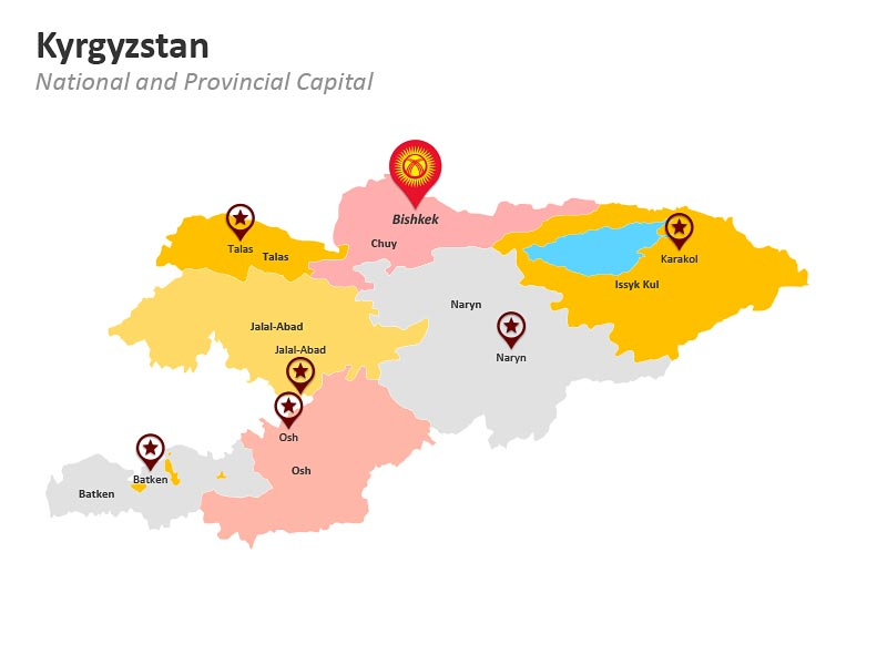 PPT Provinces Map of Kyrgyzstan