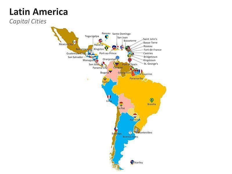 Editable PPT Template of Map of Capital Cities of Latin America