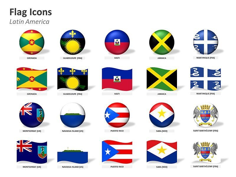 Latin American Countries Flags Icons Vector Cliparts