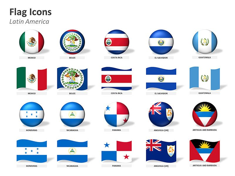 Latin American Countries Flag Icons PowerPoint Illustration