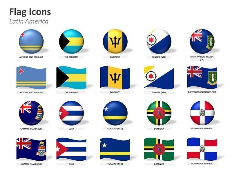 Countries of Latin America Flag Icons PPT Cliparts