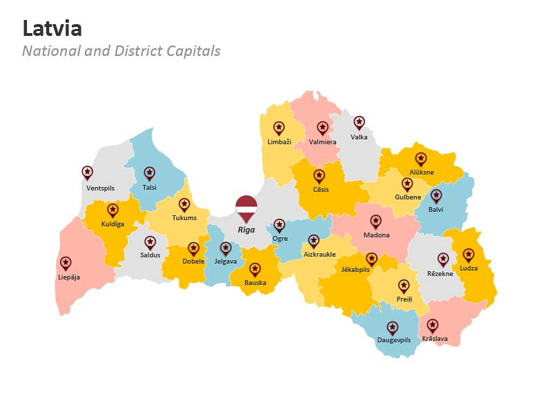 PowerPoint Slides Latvia District Map