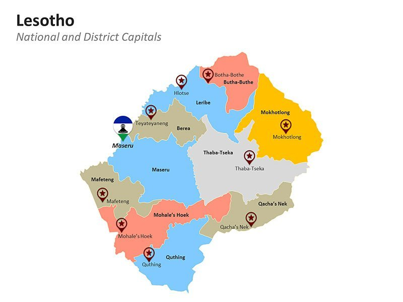 Districts Map of Lesotho - Editable PPT