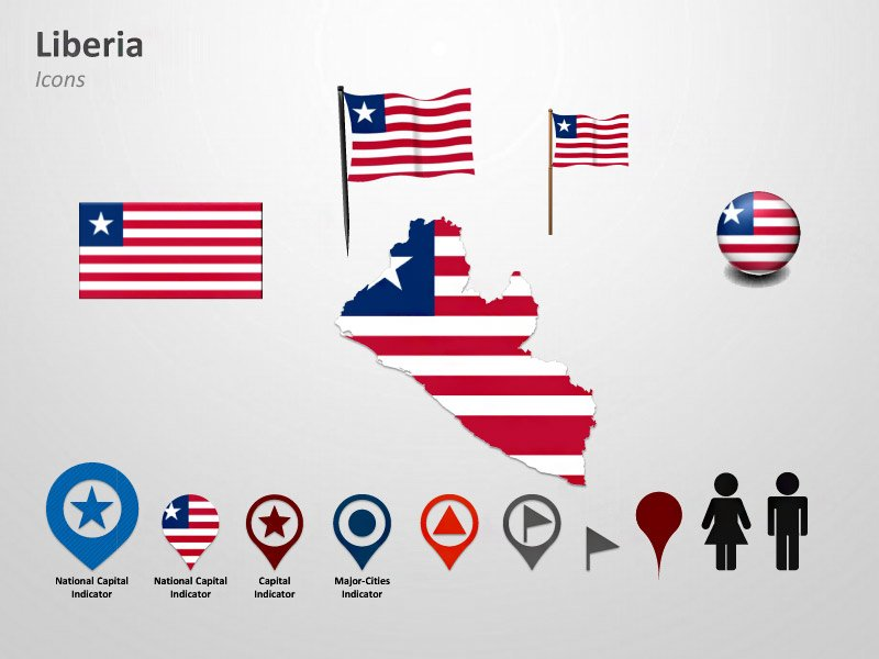 PowerPoint Flags Icons and Cliparts - Liberia Map