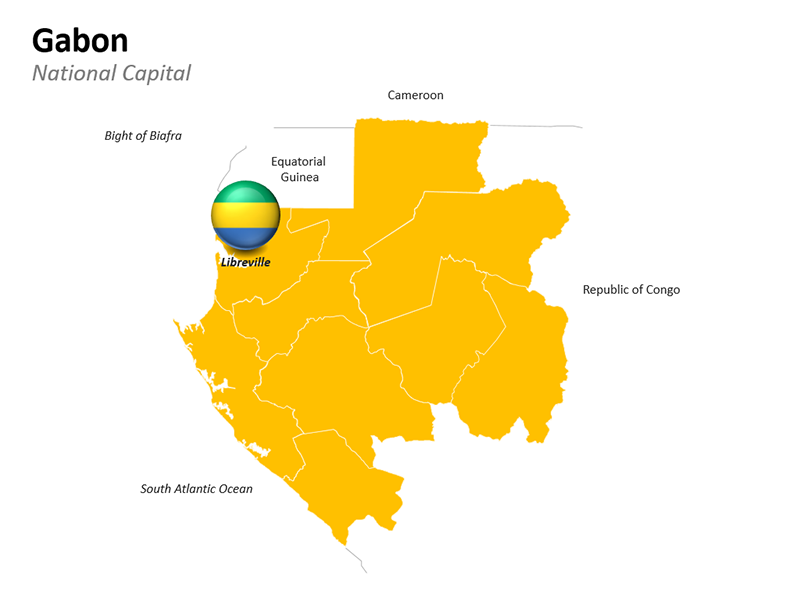 Gabon Map with National Capital Libreville - Editable PowerPoint Slide